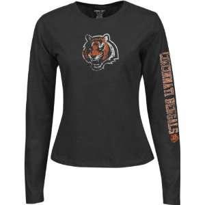 Cincinnati Bengals Womens Black Long Sleeve Giant Logo