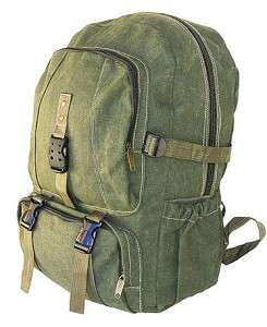 MILITARY STYLE CANVAS BACKPACK LAPTOP BOOKBAG DAY PACK