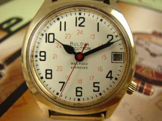 BULOVA ACCUTRON RAILROAD APPROVED QUICK SET DATE MENS WATCH VINTAGE