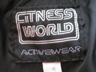 RARE VTG 80s FITNESS WORLD GYM GRAY LEATHER BLACK WOOL EMPLOYEE