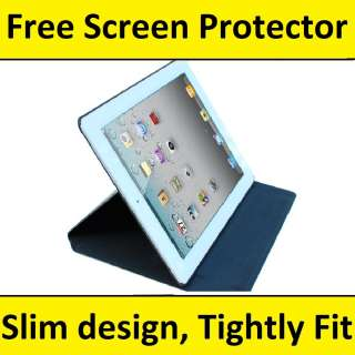 NEW iPad 2 Smart Cover Genuine Leather Case w/ Stand BK