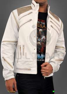 Michael Jackson Beat IT White Leather Jacket Metal Mesh