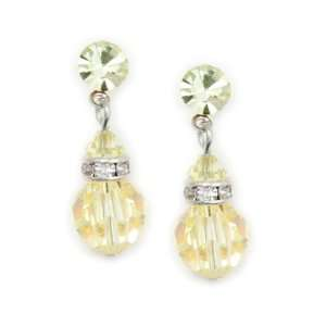 Yellow 8mm Swarovski Crystal Drop Earrings    Made In USA Jewelry