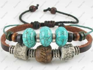 Adjustable Surfer Tribal Hemp Leather Bracelet Wristband Womens