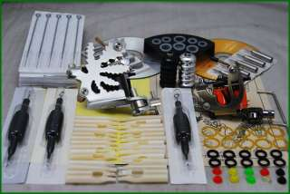 Tattoo Supply Kit 2 Machine Guns Grips Needle Set D55 7