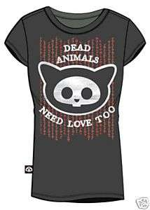 SKELANIMALS T Shirt Tee NEW Kit CAT Head  (JUNIOR S)
