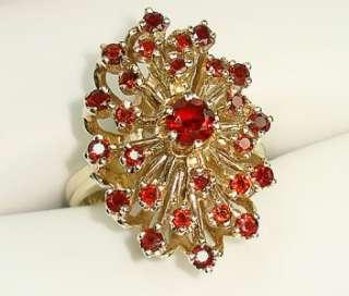 Vtg Estate 14KT Solid Gold 2 CT 27 Garnet Ladies 9.1 Gram Ring Sz 5.75