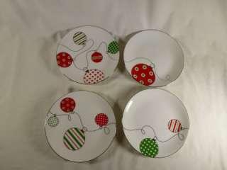 Lenox Merry & Bright Christmas Ornament Dessert Plate Set of 4 NEW