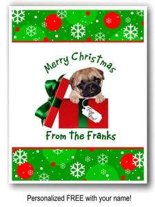10 Pug Dog puppy Christmas Cards Personalized with YOUR name EXCLUSIVE