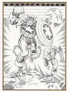 CAPTAIN AMERICA B/W LITHO AP #13/25 SIGNED BY JOE SIMON & JACK KIRBY