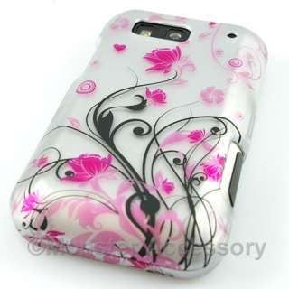 Pink Flowers Hard Case Cover Motorola Defy Accessory
