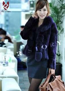 real rabbit fox fur coat jacket overcoat topcoat elegant gray