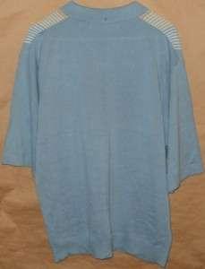 Nat Nast Short Sleeve 100% Pima Cotton Button Front Shirt Size L