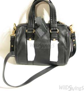 BY MARC JACOBS Turnlock Studs Lil Shifty Black Leather Satchel bag