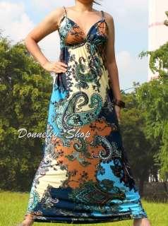 SEXY LADIES LONG MAXI DRESS BLUE BROWN PAISLEY EVENING HIPPIE BEACH