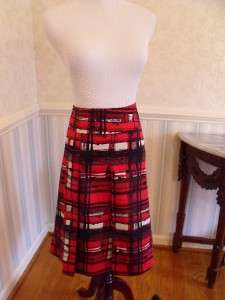 SZ 16 Womens Lined Skirt Red/ Black Pleated BOLD Colors 100% Cotton