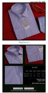 MENS BLUE BUSINESS DRESS SHIRTS WHITE STRIPE 17 L
