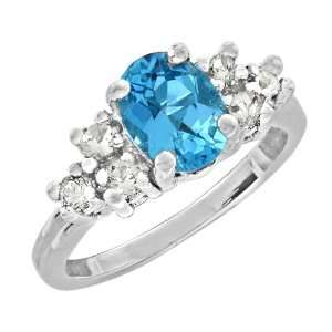 2.85 Ct 9X7 Oval Cut Blue Topaz White Gold Ring New