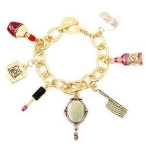 Beauty Salon Charm Bracelet Spa Comb Mirror Polish Gold