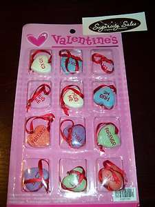 NEW VALENTINES 1 SWEET HEART CONVERSATION ORNAMENTS SET OF 12 HEARTS