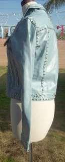 Baby Blue Maxima Studded Rhinestone Leather Jacket FUNKY Medium M Las