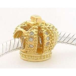 18k Gold on 925 Sterling Silver European Style Royal Crown