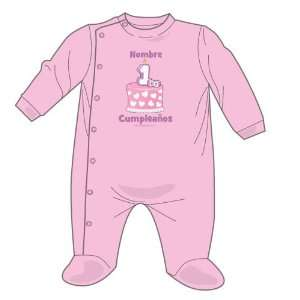 Personalized Mexican Primer Cumpleano Girl   Pink Sleeper   6 monhs