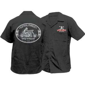 Lethal Threat Designs LT Custom Motorcycle Mens Work Casual Shirt