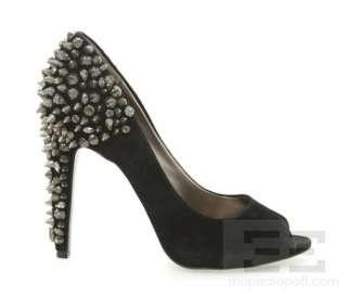 Sam Edelman Black Suede Studded Lorissa Peep Toe Heels Size 10 M