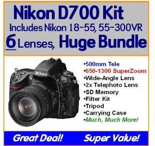 Nikon D700 6 Lens Package Kit 18 55mm VR, 55 300mm VR, 500mm, 650