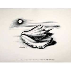 1954 Lithograph Gertrude Abercrombie Modern Art Conch Sea