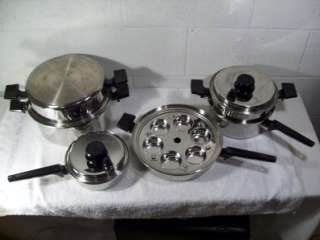 9pc Set Royal Prestige Stainless Steel Cookware Titanium Silver Alloy