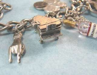 The VICE OF LIFE Vintage Sterling Silver Risqué Charm Bracelet Lots