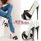 Womens Stiletto Platform Pumps High Heel Shoes Beige UK 4/EUR 37