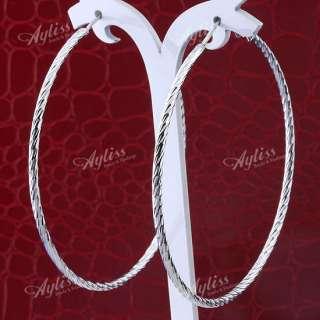 2X White Gold Plate Hoop Cuff Earring Nickel Free J401