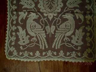 1800s antique VICTORIAN LACE table runner BIRDS folky