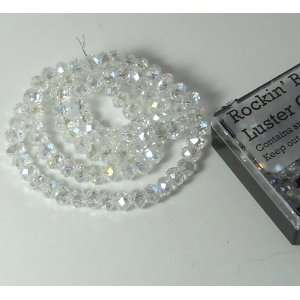 Clear AB Luster Crystal Glass Faceted Fluted Machine Cut Rondelle