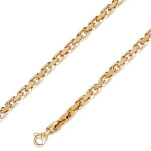 14K Solid Yellow Gold Hip Hop Bullet Chain Necklace 4mm (5