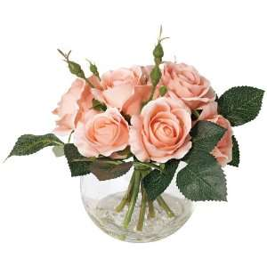 Pink Faux Roses in Glass Container