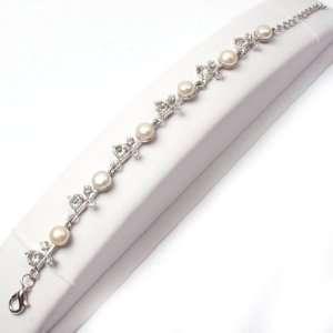 Cane Flower Shape White Gold Plated Bracelet 8 Fashion DIY Jewelry