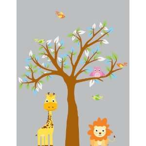 Decal Tree with Owls Birds Lion Giraffe Great for Nursery or Kids Room
