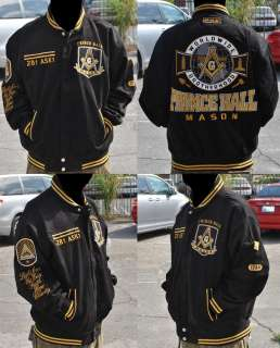 Prince Hall Mason F&AM Divine S3 Mens Letterman Twill Jacket