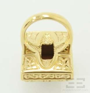Designer FP 14K Yellow Gold Tigers Eye Gemstone Square Ring Size 7.5