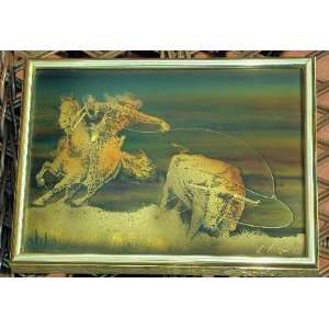Cowboy Catching Bull Metallic Art Wall Hanging