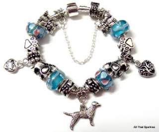 Blue Dog Lovers Puppy Paw Print Bead Charm Bracelet