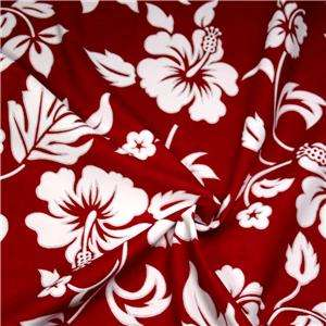 Hawaiian Print Cotton Fabric, Red Hibiscus Flowers on White, BTY