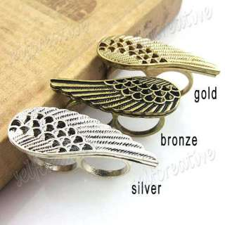 Hollowed Angel Wing 2 Two Double Finger Ring Silver/Gold/Bronze