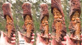 Tree gnome wood carving rustic spirit forest face sculpture log home