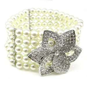 Perfect Gift   High Quality Fancy Fashion Pearl Bracelet with Silver