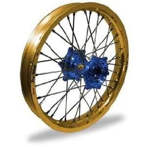 Pro Wheel MX Rear Wheel Set   19x2.15   Gold Rim/Blue Hub 24 22034 HUB